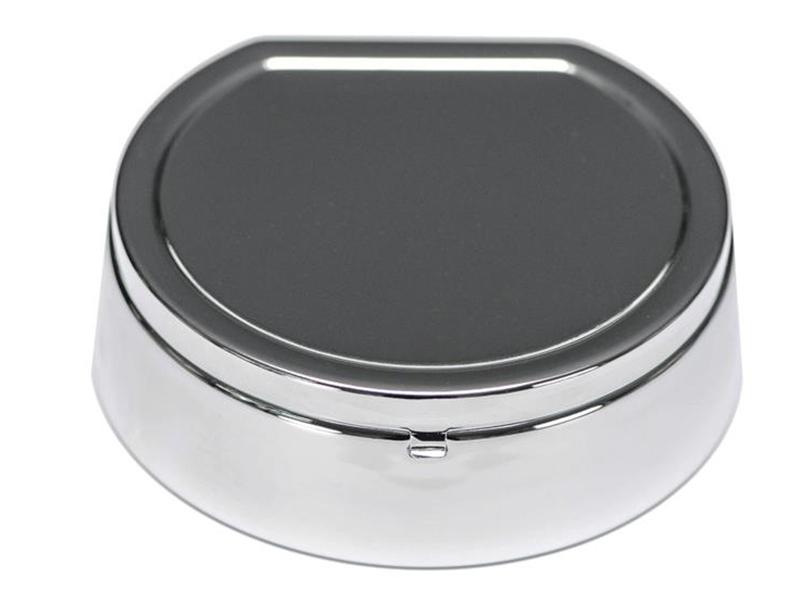 aschenbecher chrom poliert mit deckel rauchfrei 14 x 4 5 cm. Black Bedroom Furniture Sets. Home Design Ideas