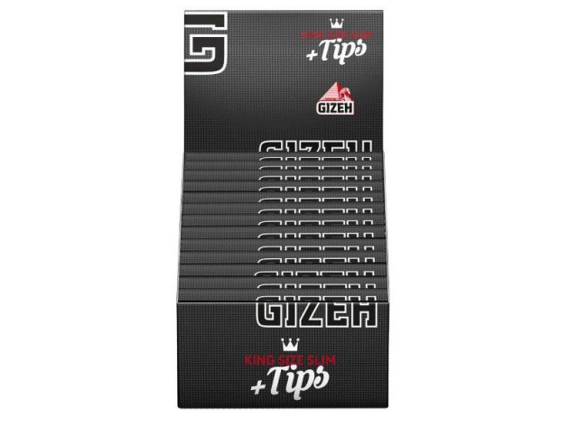 Gizeh Black King Size Slim 26 Hefte je 34 Blatt + 34 Tips
